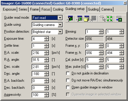 Guider setup tab of the SIPS CCD Camera control tool