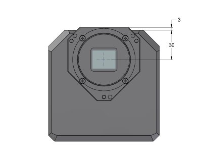 G2 Mark II camera head front view dimensions