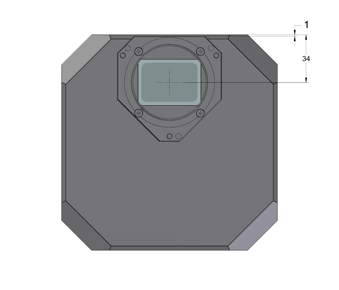 G3 Mark II camera head front view dimensions