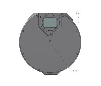 G3 Mark II camera head with S External filter wheel front view dimensions